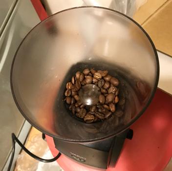 コーヒーグラインダーを上から見たところ