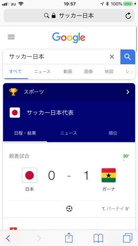 サッカー日本代表の試合経過
