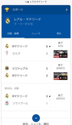 レアル・マドリードの試合結果