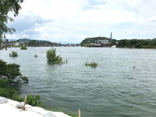 川下から見た瀬田川洗堰
