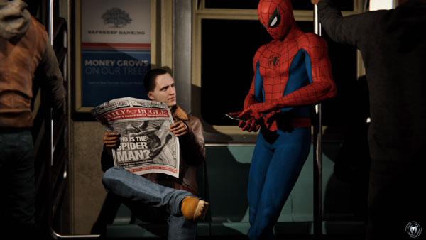 電車の中でスマホをいじっているスパイダーマン