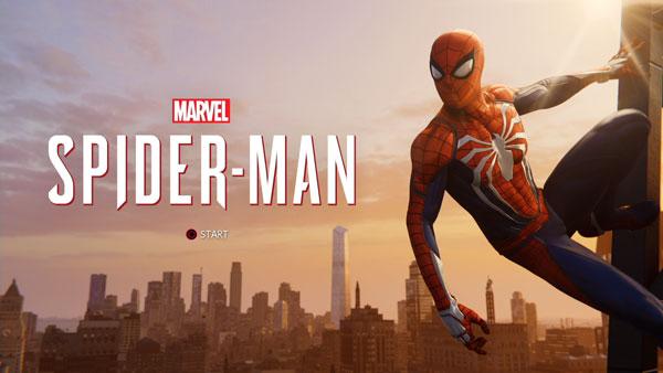 スパイダーマンのタイトル画面